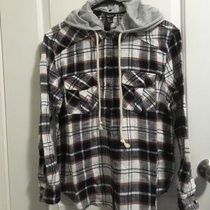 Forever 21 Hooded Plaid Shirt